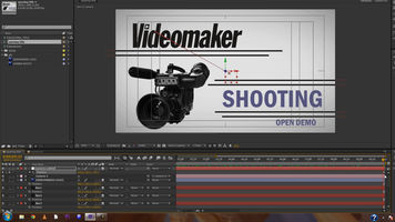 screen shot of Adobe After Effects with opening titles being editing