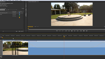 screenshot of time remapping being used to slow down a skateboard shot