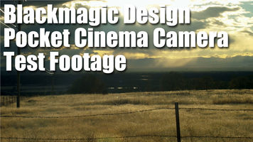 shot of a field and the sun with text that reads Blackmagic Design Pocket Cinema Camera test footage