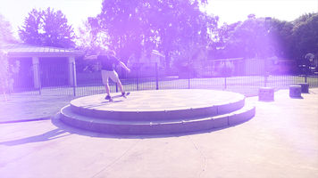 image of a skateboarder with a DIY light leak applied to the shot