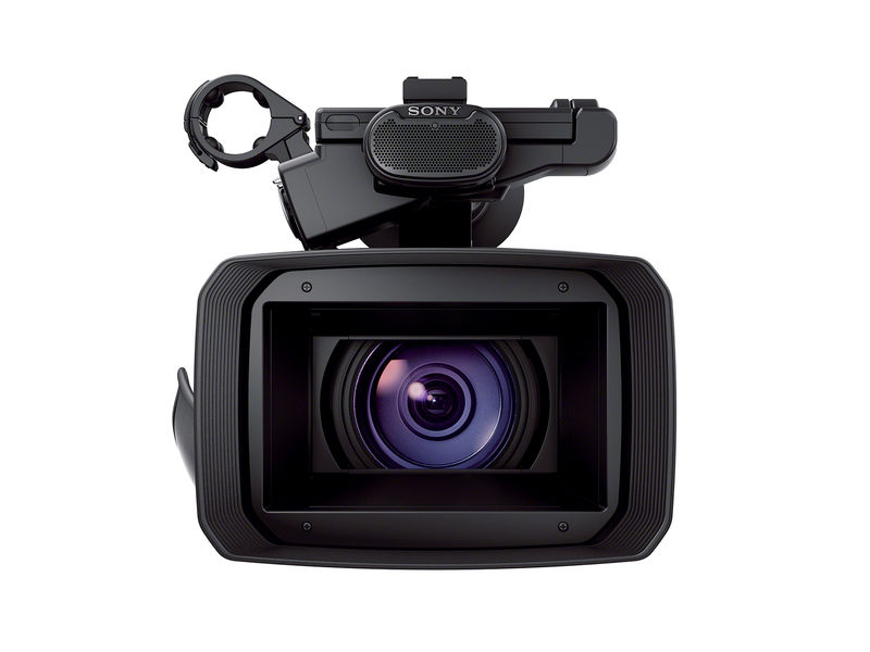 sony 4k video camera. head-on view of camcorder with mics on top sony 4k video camera